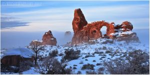 TURRET ARCH BY FOG AND SNOW